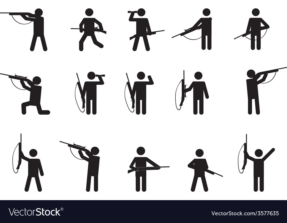 Pictogram people with hunting guns vector | Price: 1 Credit (USD $1)