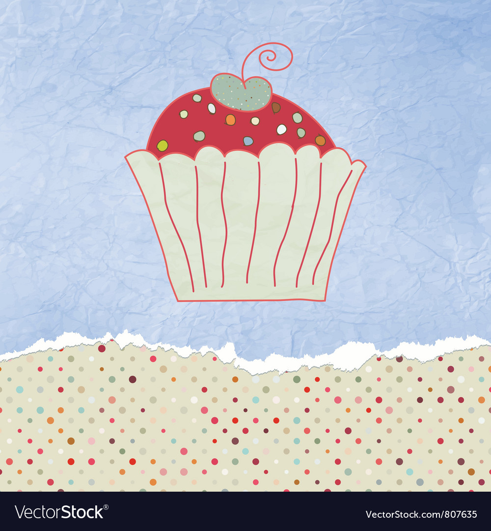 Retro cupcake card vector | Price: 1 Credit (USD $1)