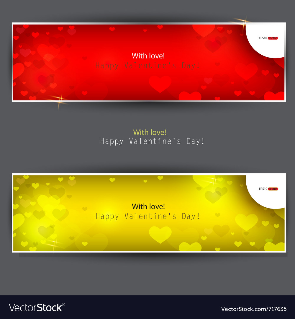 Set of banners with hearts valentines day backgrou vector | Price: 1 Credit (USD $1)