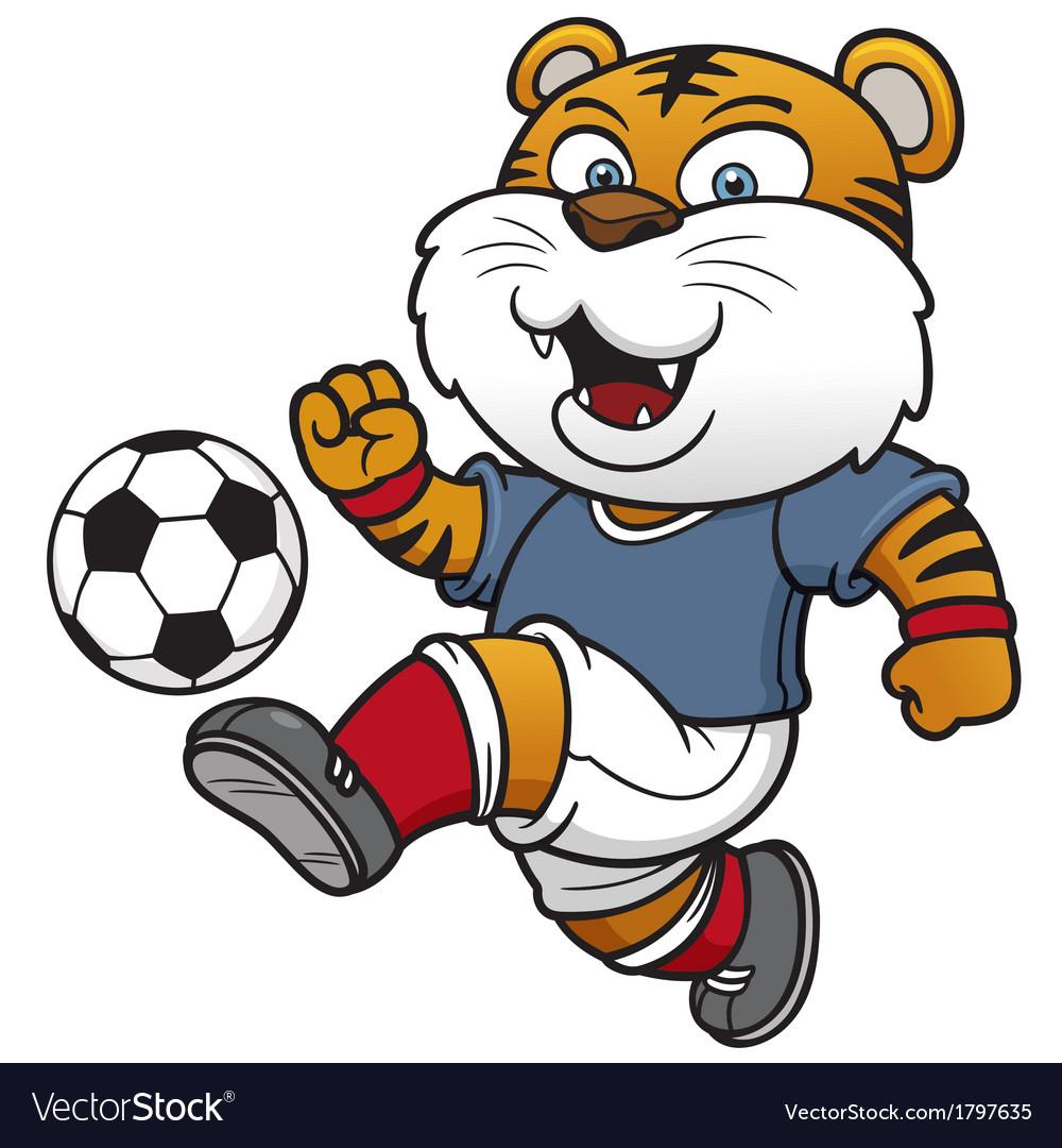 Soccer tiger player vector | Price: 1 Credit (USD $1)