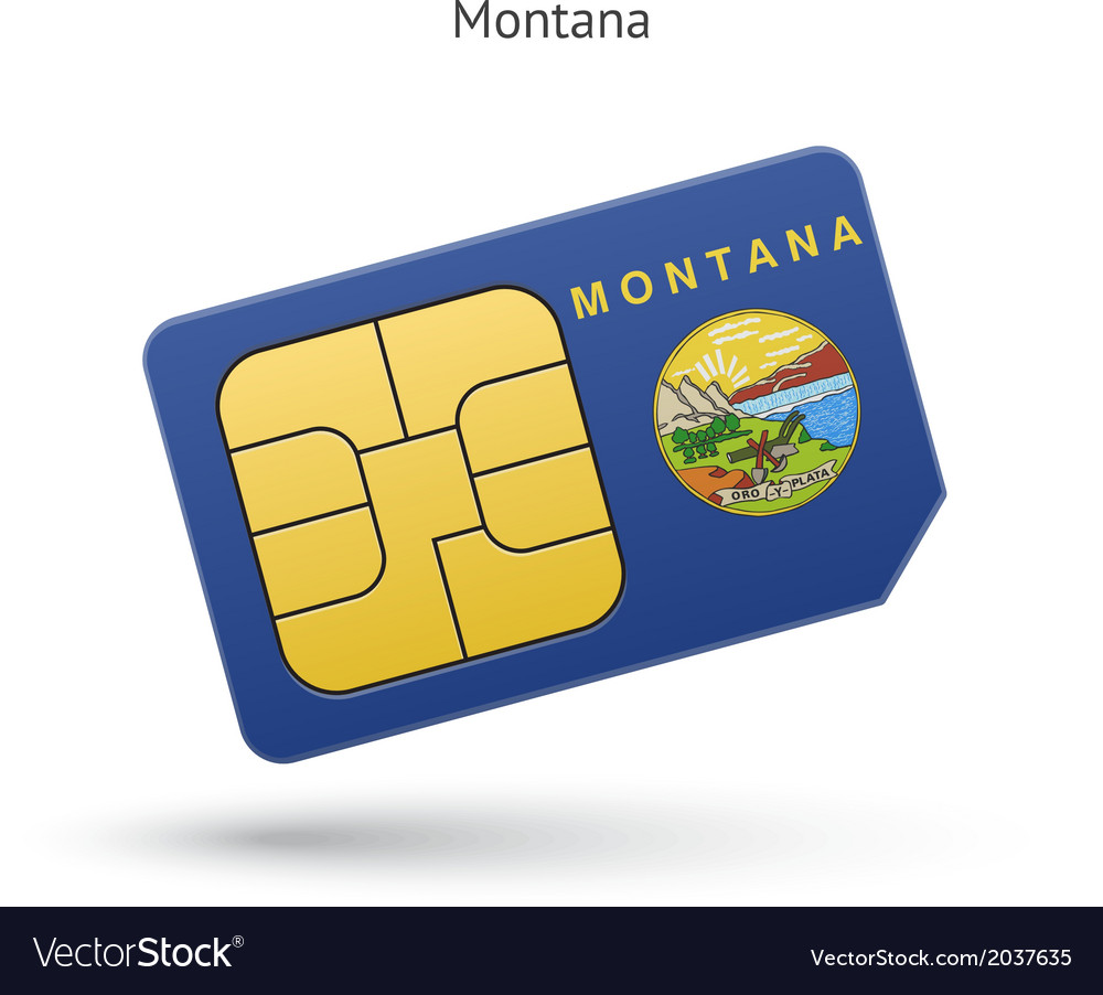 State of montana phone sim card with flag vector | Price: 1 Credit (USD $1)