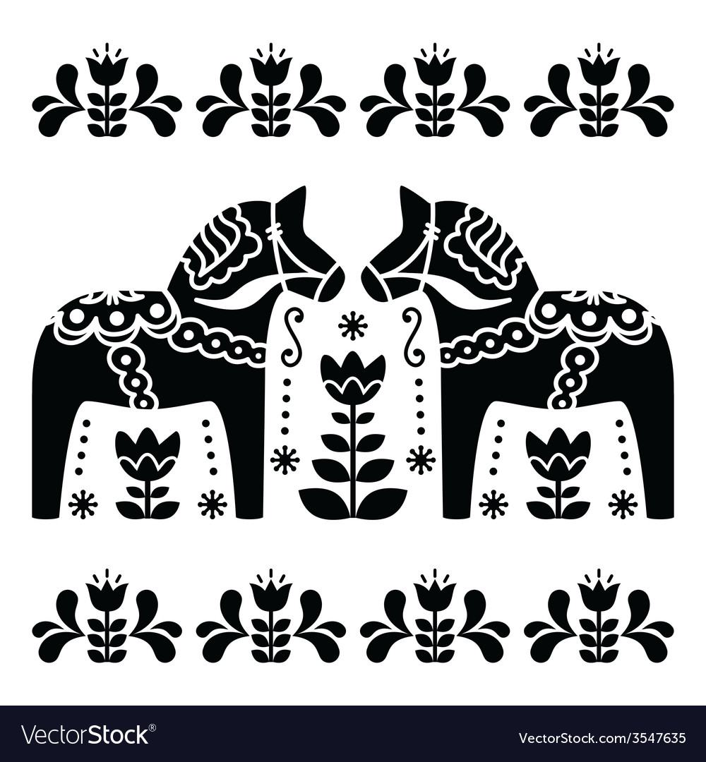 Swedish dala or daleclarian horse black and white vector | Price: 1 Credit (USD $1)