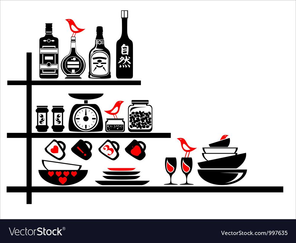 Wall stickers black and red kitchen shelves vector | Price: 1 Credit (USD $1)
