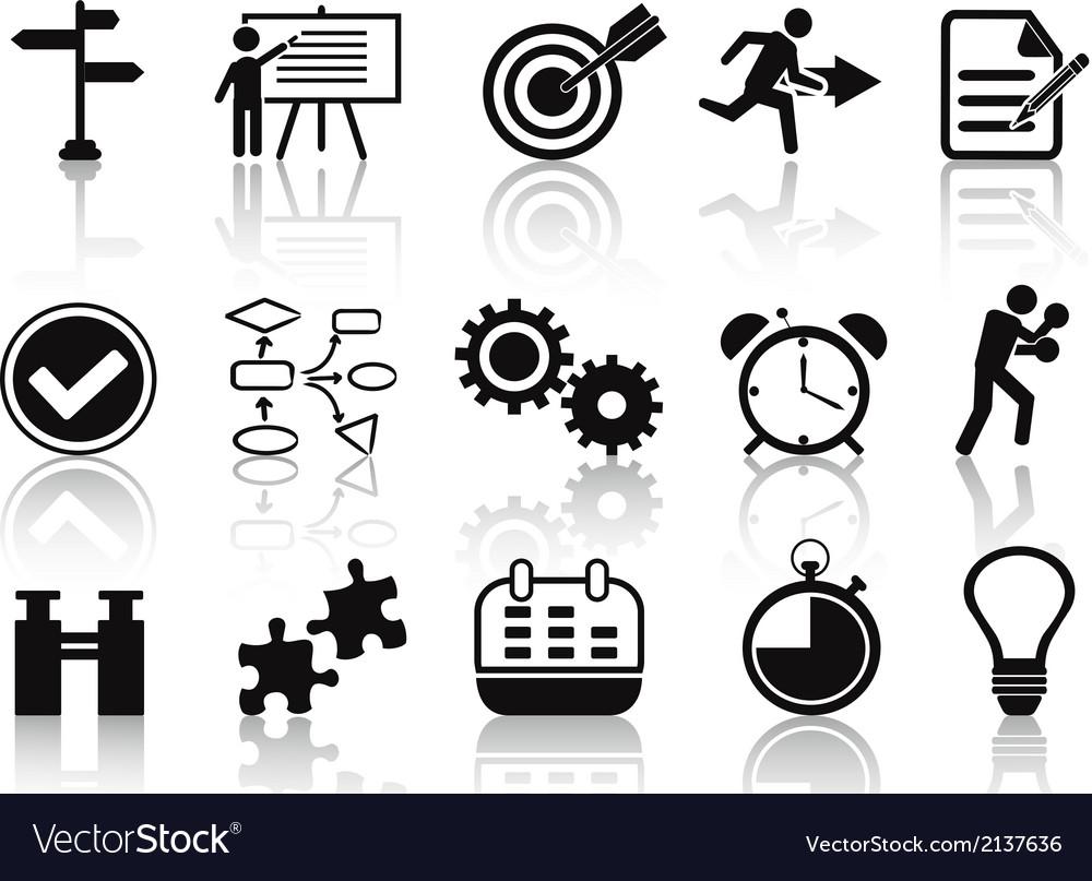 Black planning icons set vector | Price: 1 Credit (USD $1)