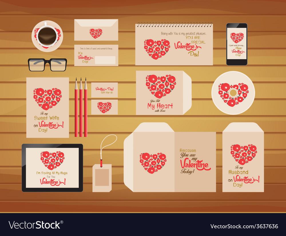 Brand identity valentines style retro vector | Price: 1 Credit (USD $1)