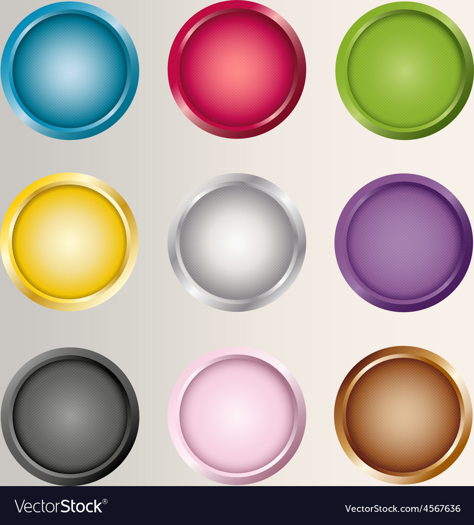 Buttons icons set various colors vector | Price: 1 Credit (USD $1)