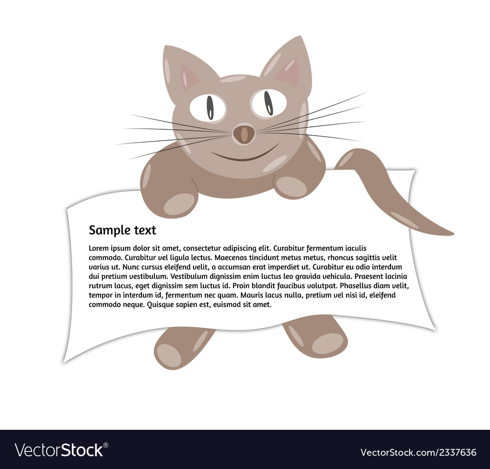 Cat with paper vector | Price: 1 Credit (USD $1)