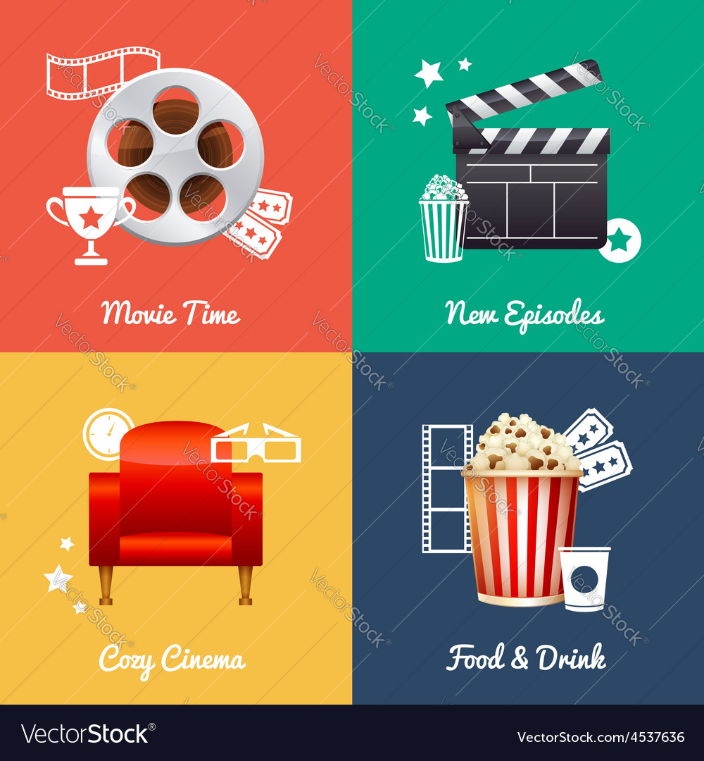 Cinematography set of square movie banners vector | Price: 3 Credit (USD $3)