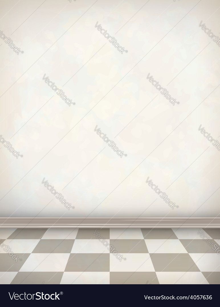 Empty room white wall tile floor vector | Price: 3 Credit (USD $3)