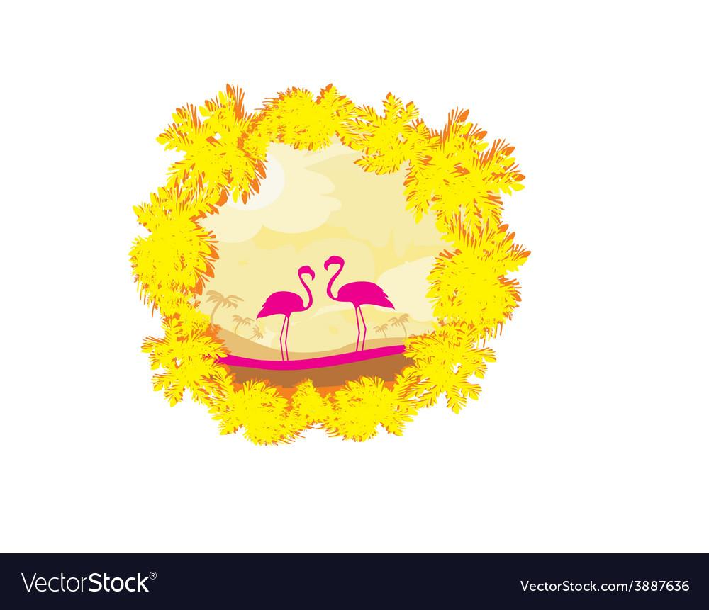Flamingo couple in wild nature landscape vector | Price: 1 Credit (USD $1)