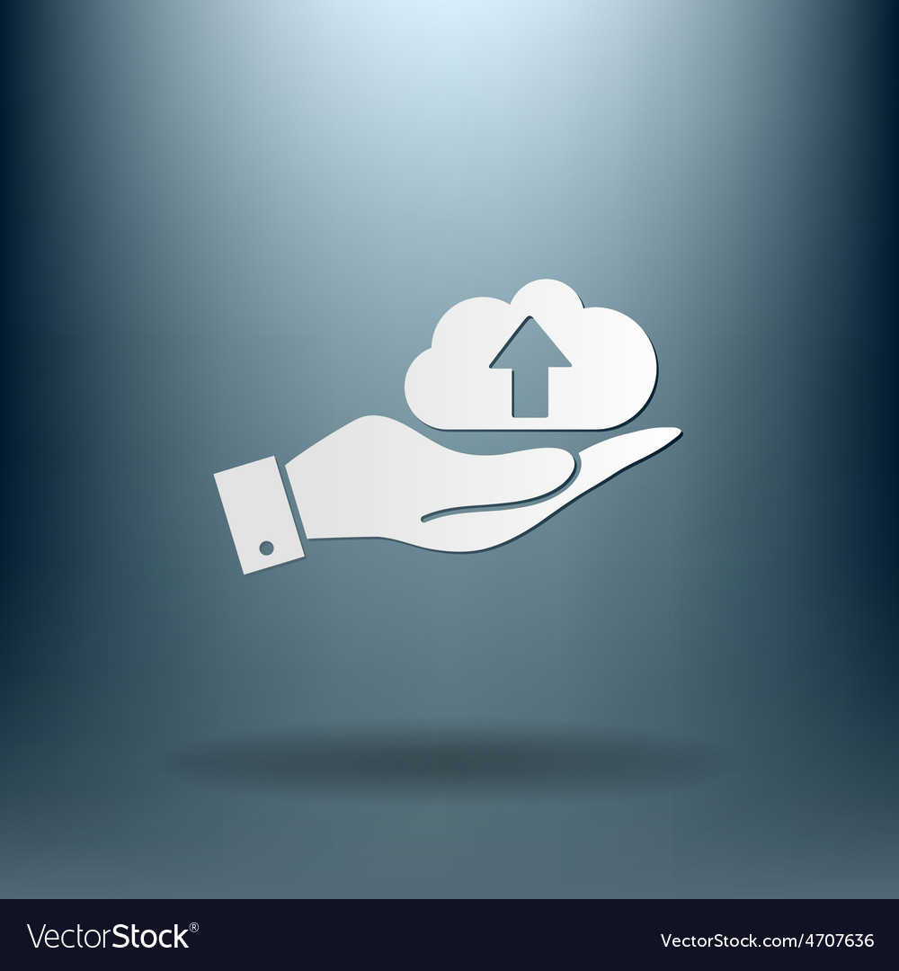Hand holding a cloud download icon download files vector   Price: 1 Credit (USD $1)