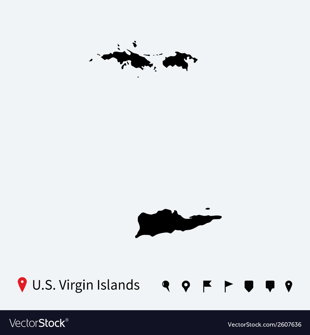 High detailed map of us virgin islands with pins vector
