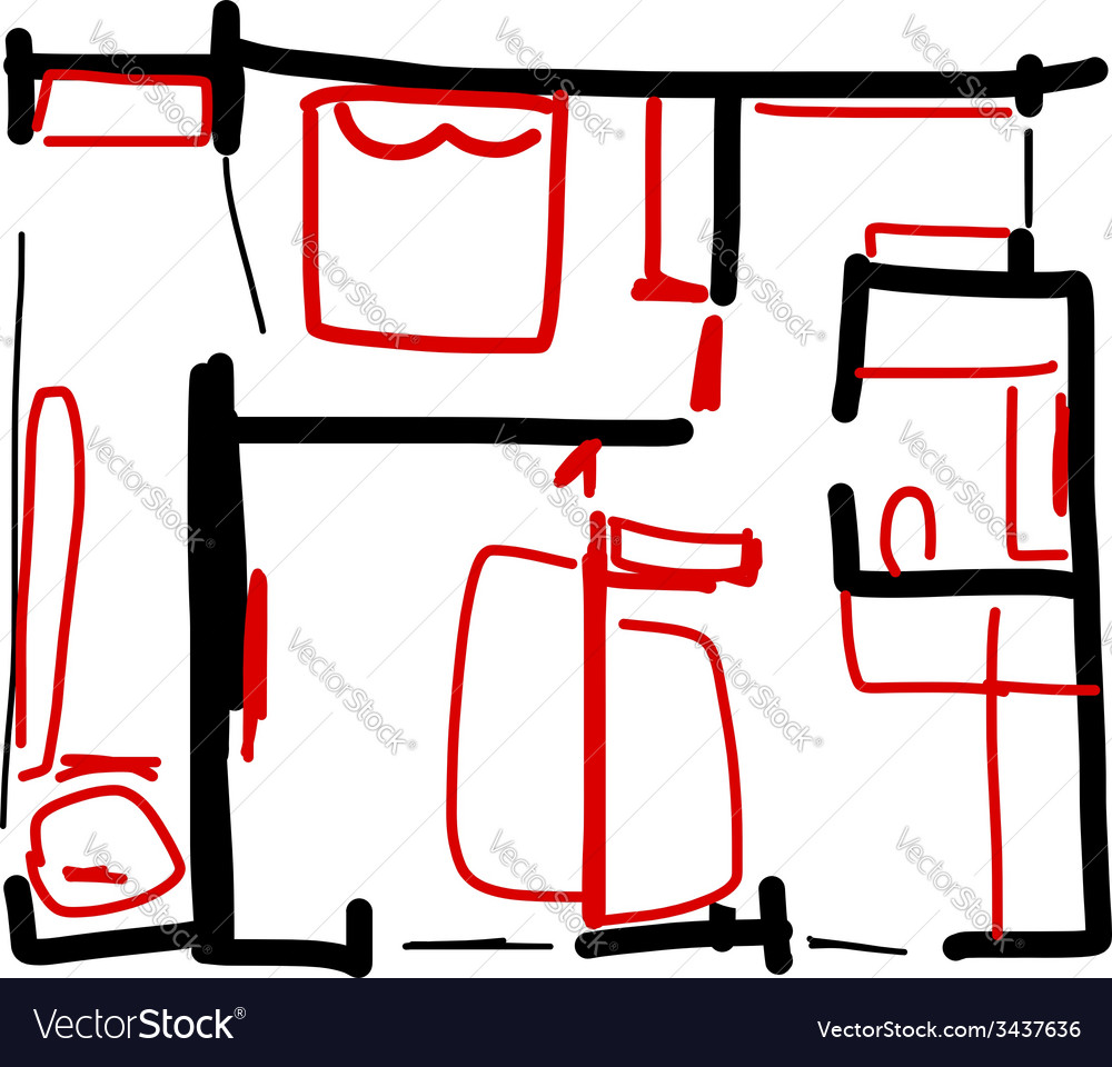 House plan doodle for your design vector | Price: 1 Credit (USD $1)
