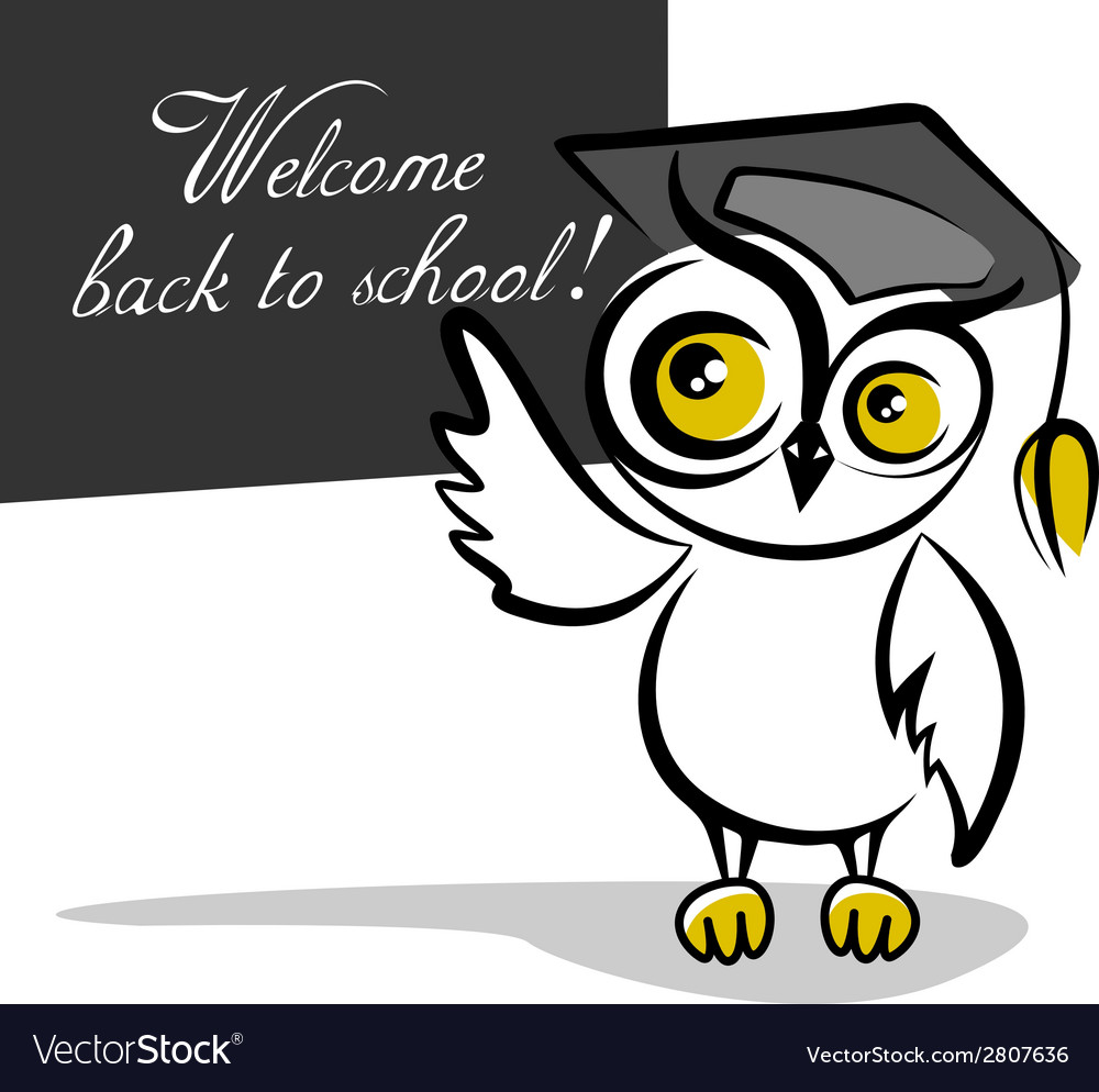 Owl and a blackboard isolated on white background vector | Price: 1 Credit (USD $1)