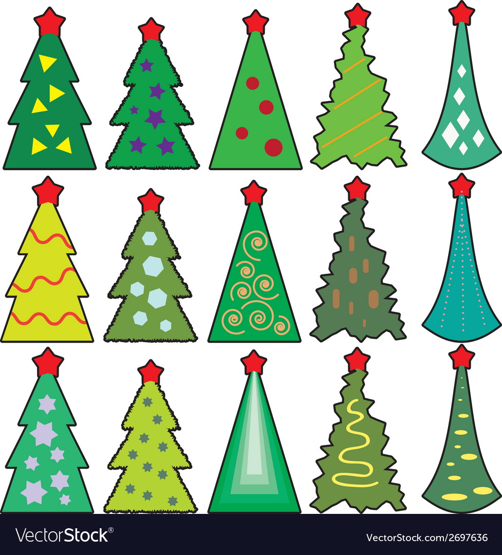 Set of christmas icons trees in a simplified style vector | Price: 1 Credit (USD $1)