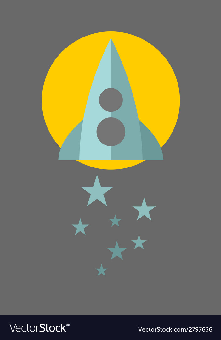 Spaceship on the moon background with blue stars vector | Price: 1 Credit (USD $1)