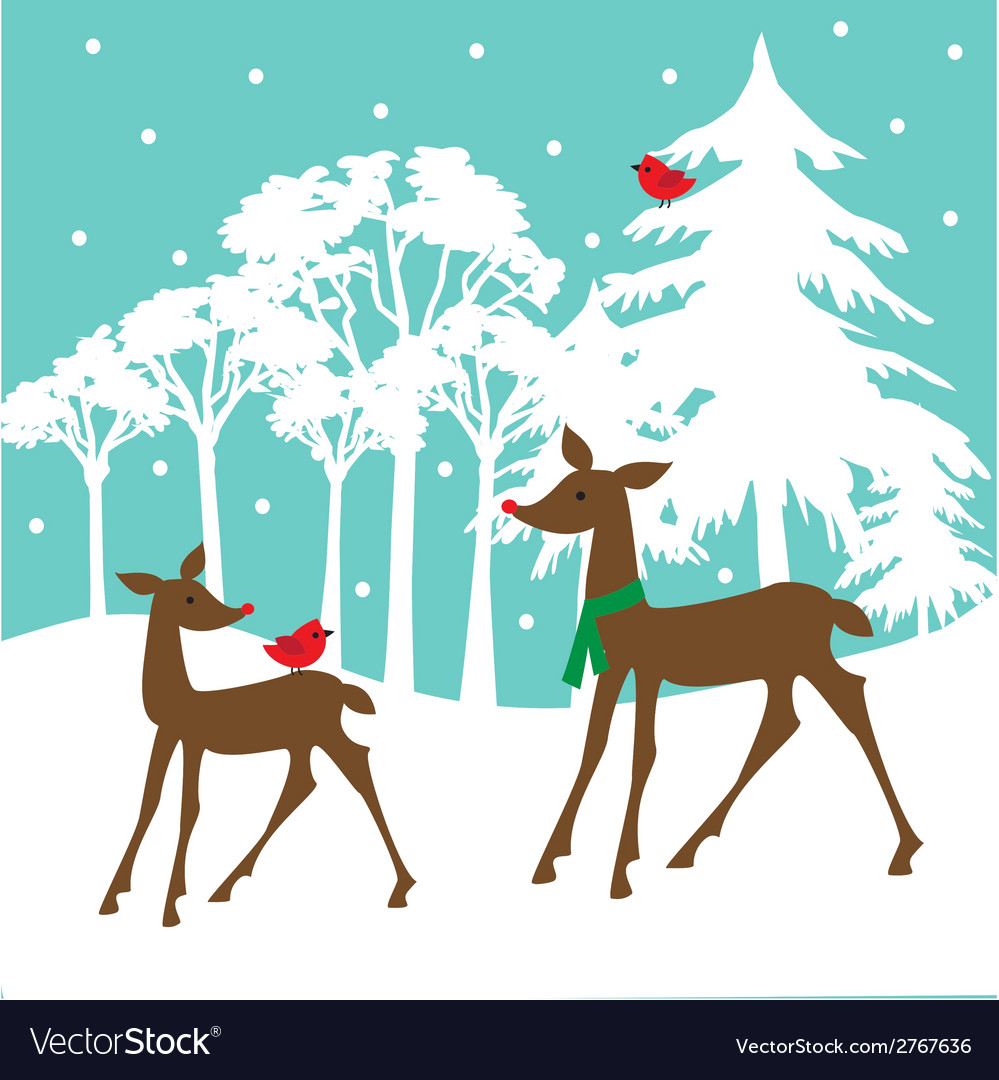 Winter deer vector