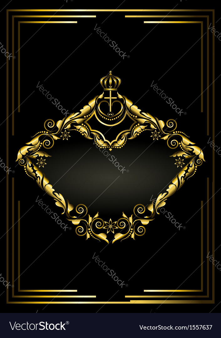 Antique gold frame with crown on black background vector | Price: 1 Credit (USD $1)