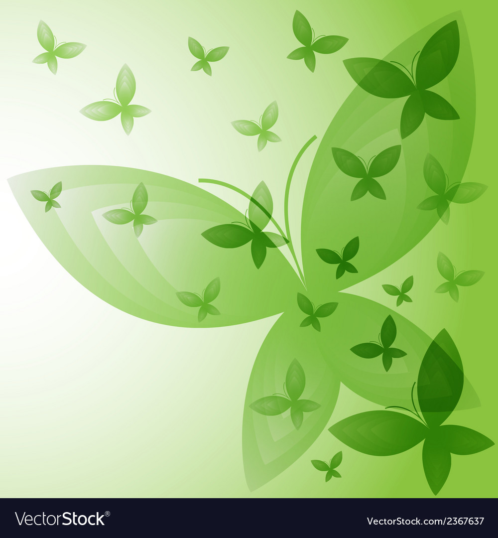 Background with green butterflies vector | Price: 1 Credit (USD $1)