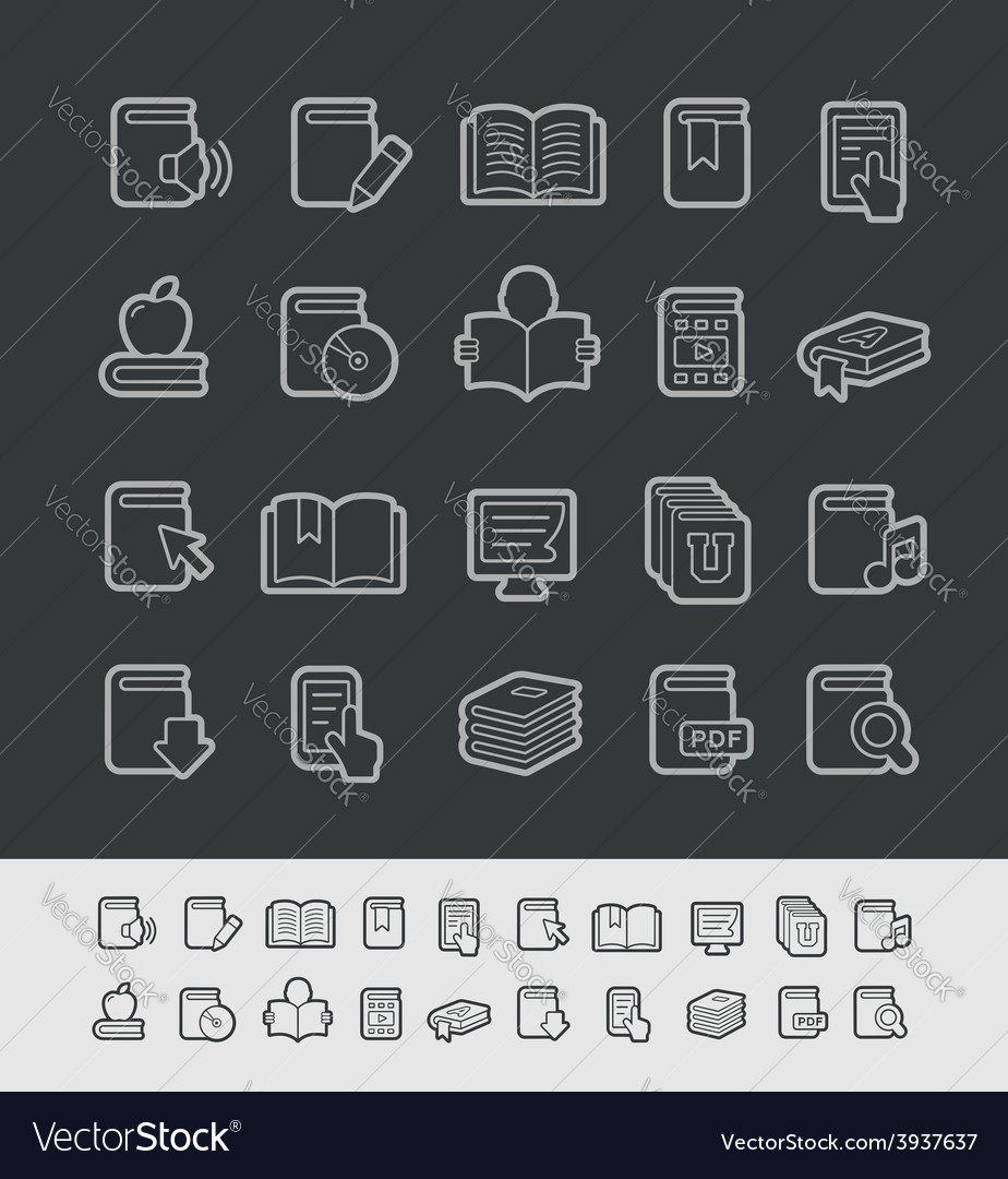 Books icons black background vector | Price: 1 Credit (USD $1)