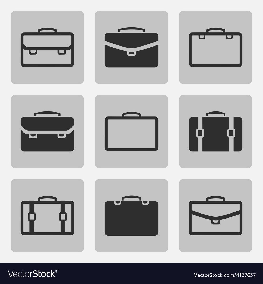 Briefcase black icons set vector   Price: 1 Credit (USD $1)