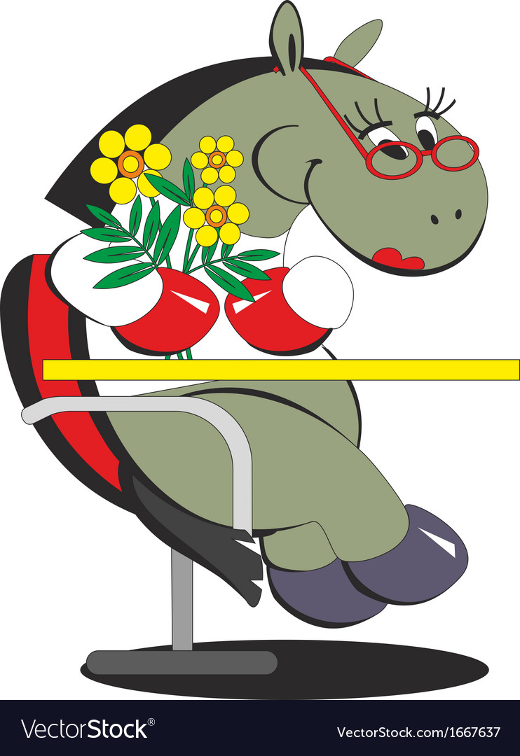 Cartoon horse is sitting on a chair with flowers vector | Price: 1 Credit (USD $1)