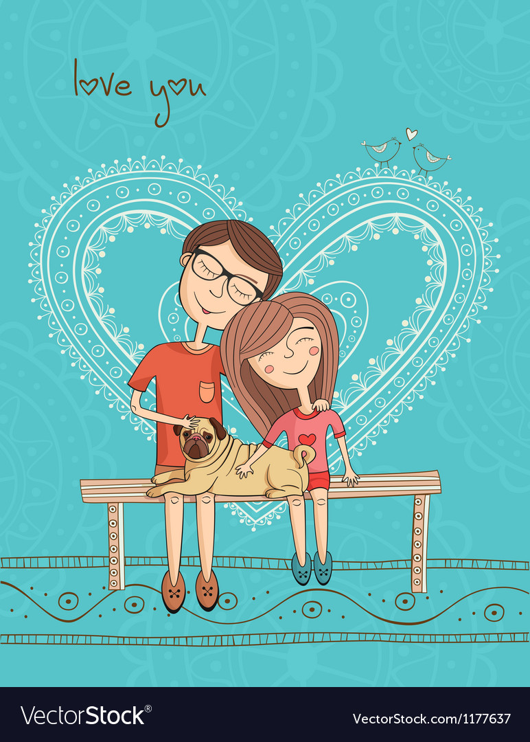 Girl and boy with mops and heart vector | Price: 3 Credit (USD $3)