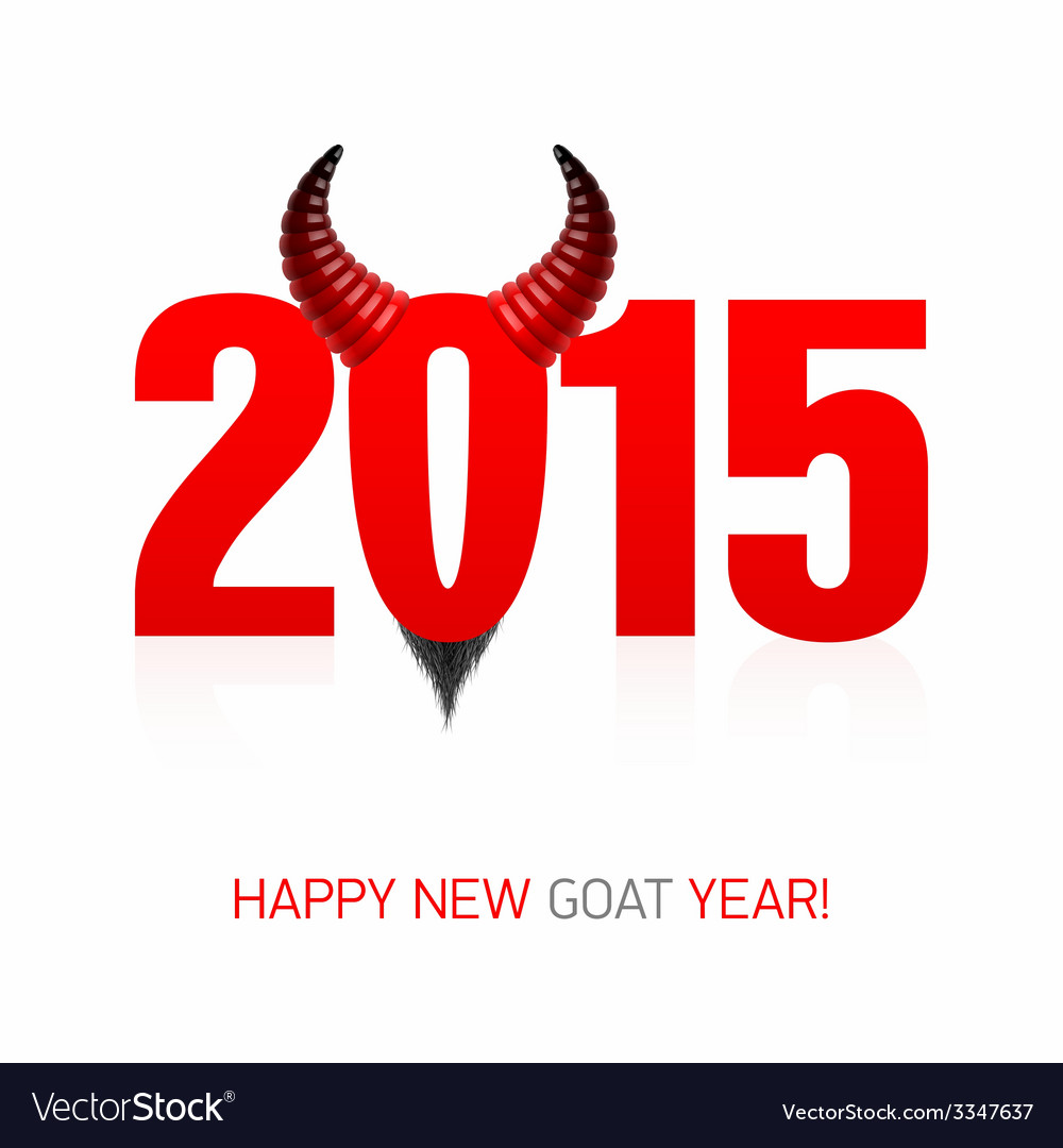 Happy new goat year card vector | Price: 1 Credit (USD $1)