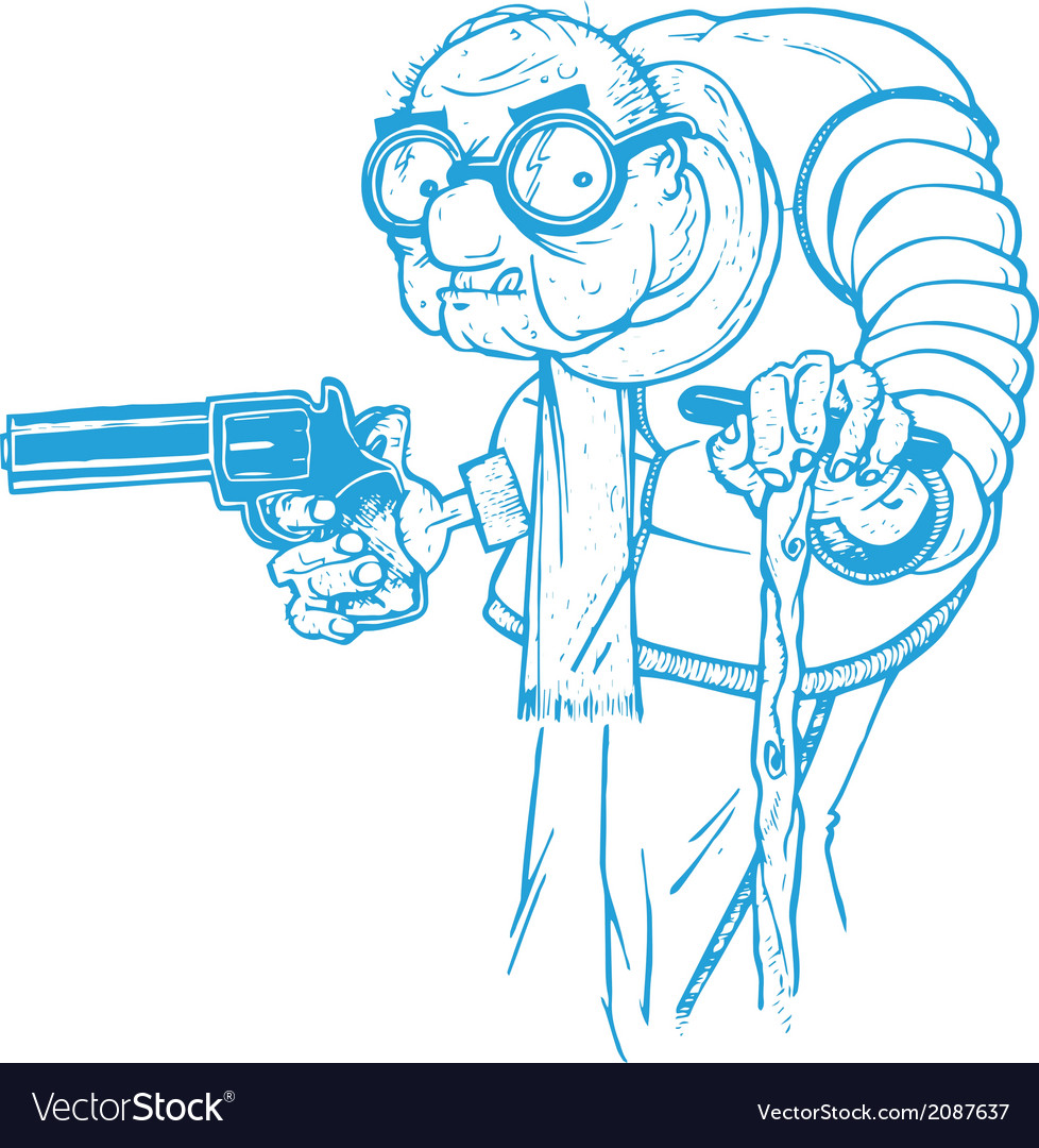 Old man with a gun vector | Price: 1 Credit (USD $1)