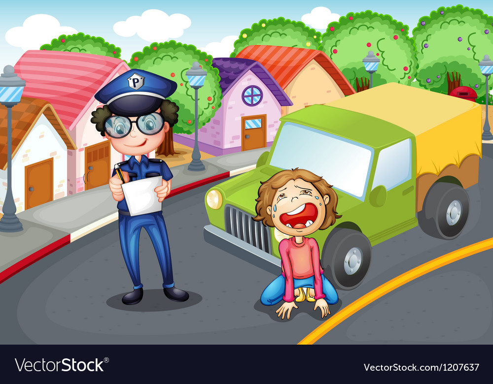 Policeman writing ticket vector | Price: 1 Credit (USD $1)