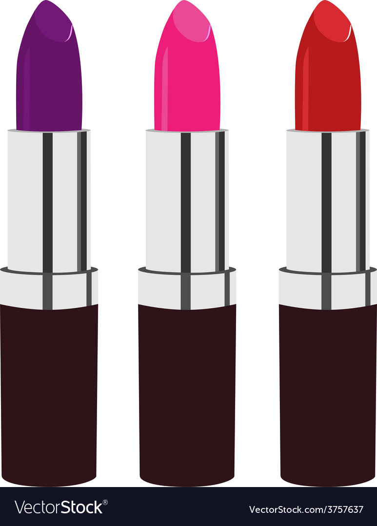 Red purple and pink lipstick vector