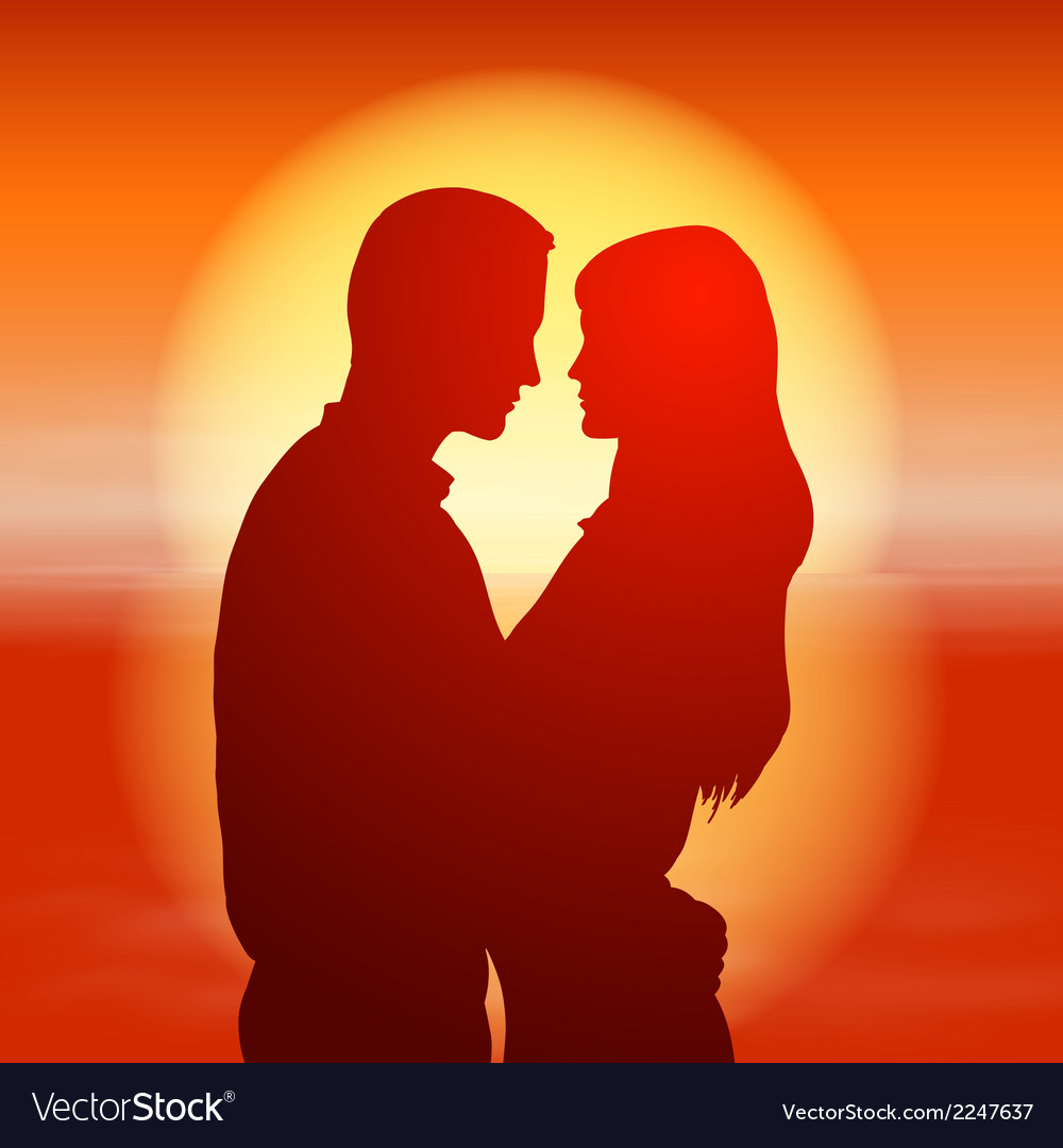 Sea sunset with silhouette couple vector | Price: 1 Credit (USD $1)