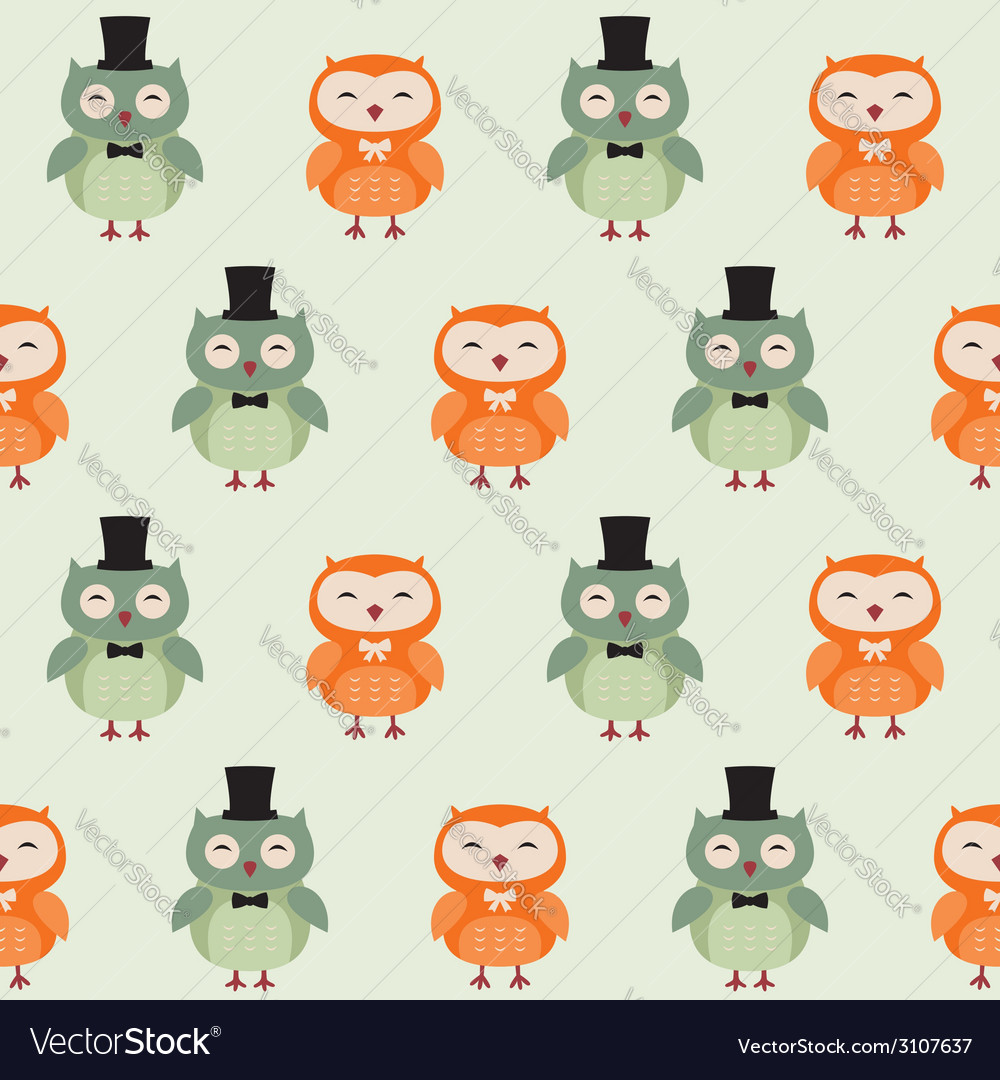 Seamless owls pattern vector | Price: 1 Credit (USD $1)