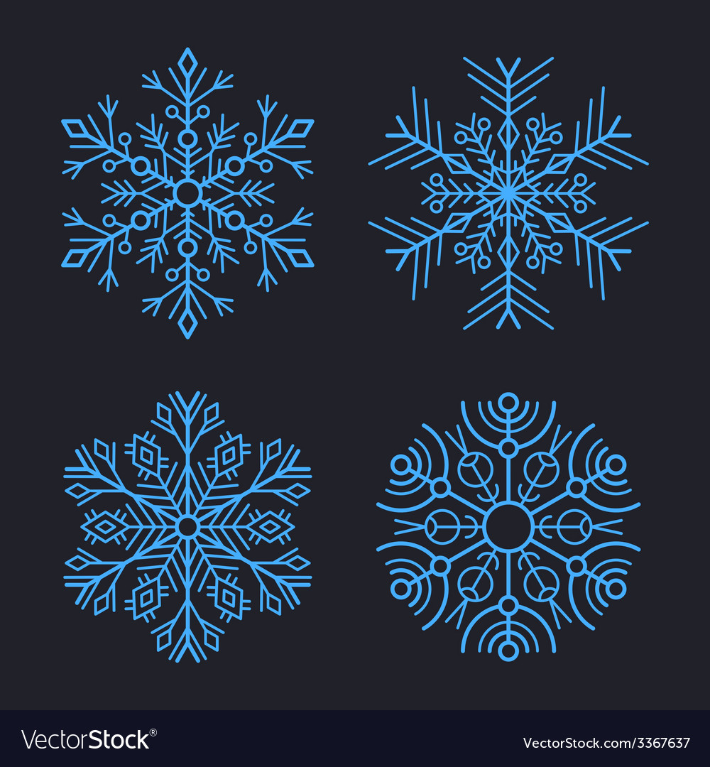 Snowflakes set for christmas winter design vector | Price: 1 Credit (USD $1)