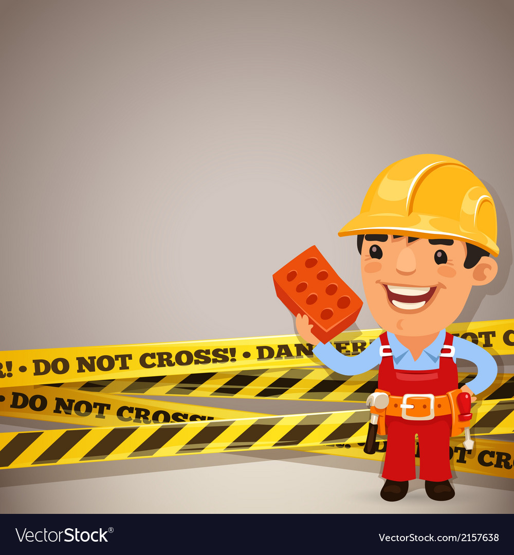 Builder with danger tapes vector | Price: 1 Credit (USD $1)