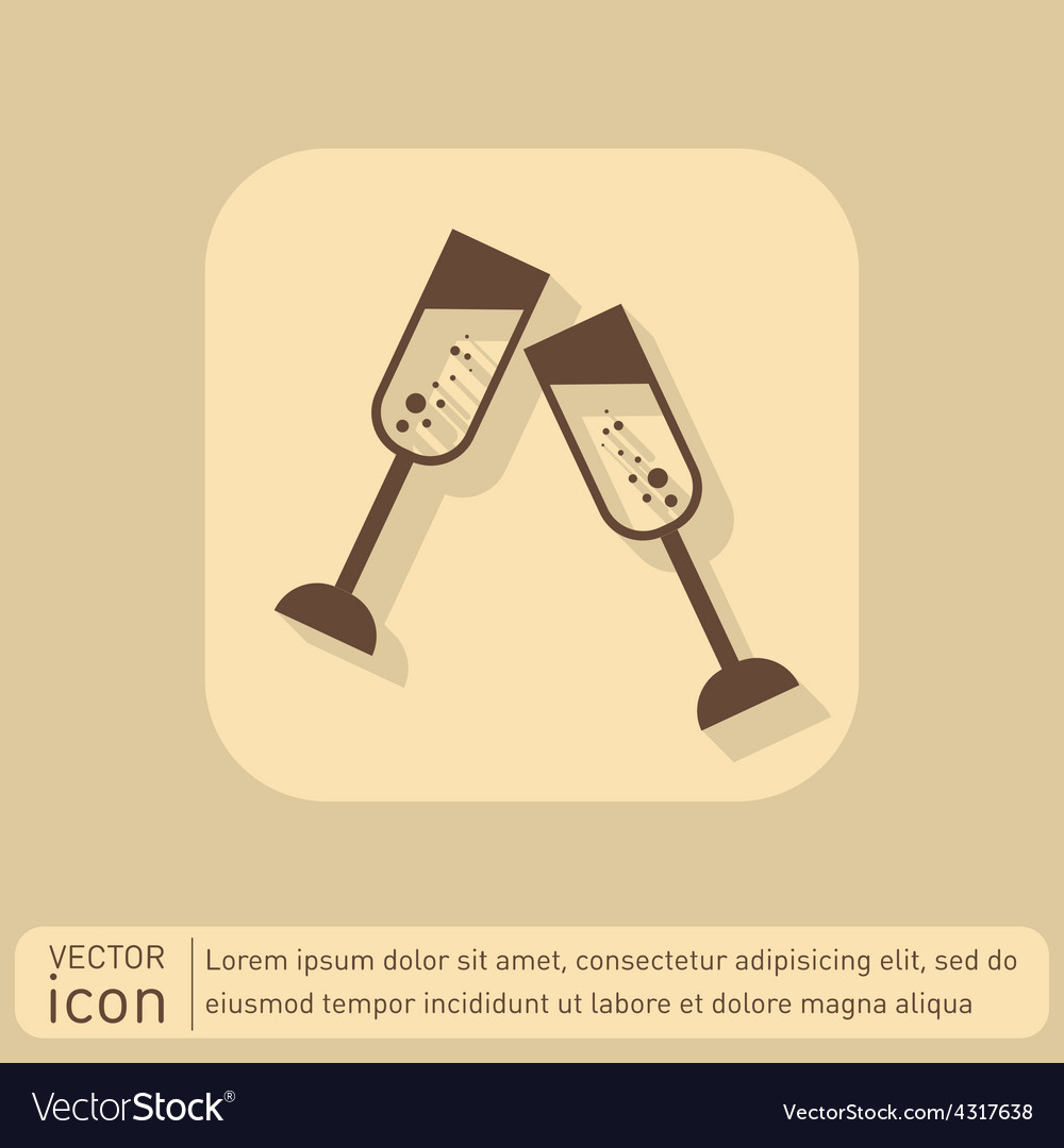 Champagne glass icon vector | Price: 1 Credit (USD $1)
