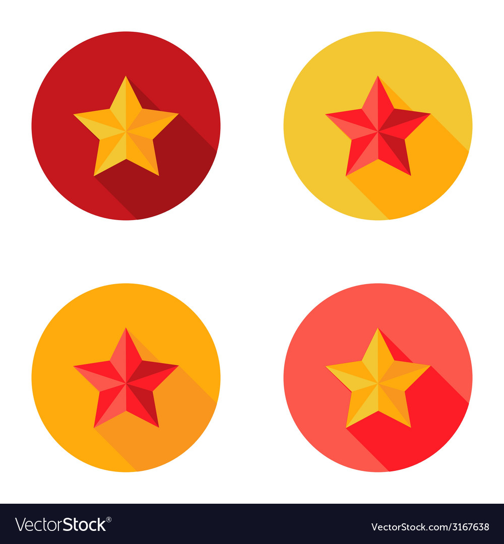 Christmas yellow and red star flat set circle icon vector | Price: 1 Credit (USD $1)