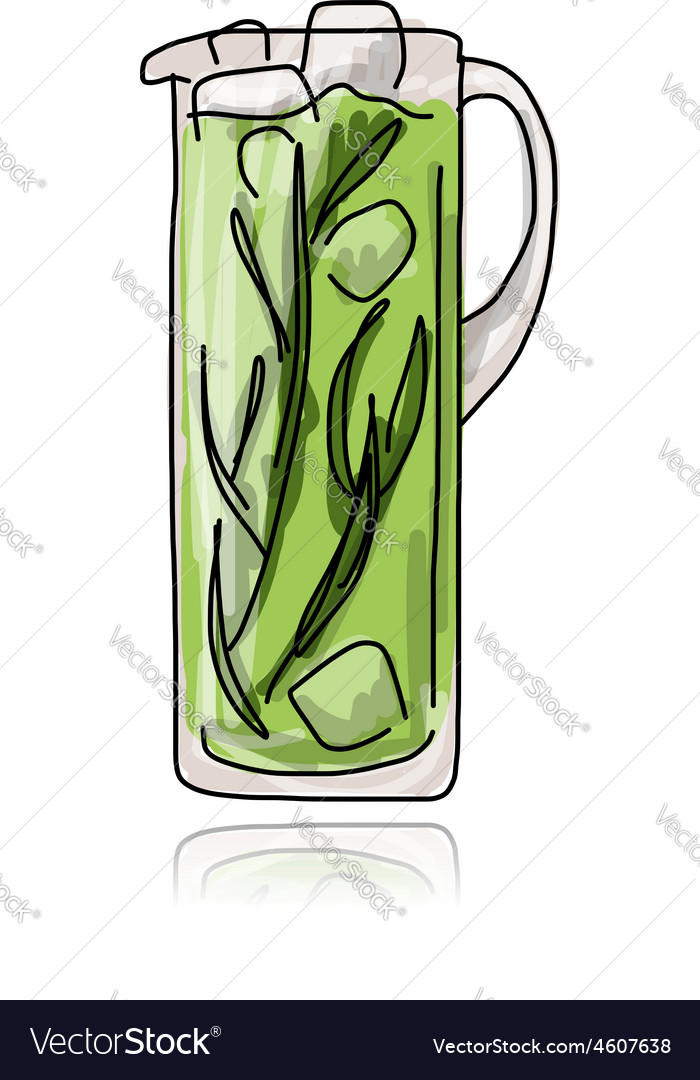 Cocktail in jug sketch for your design vector | Price: 1 Credit (USD $1)