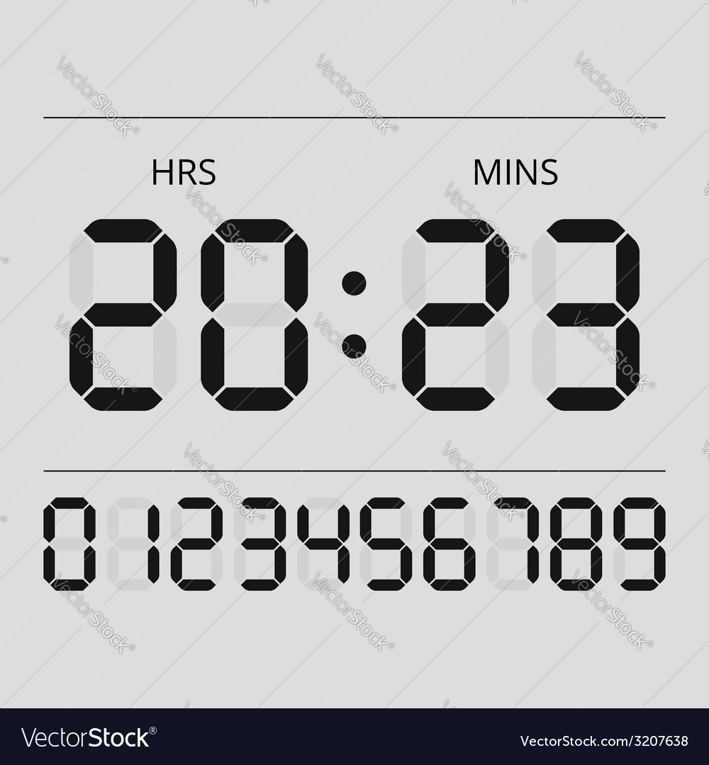 Digital clock and numbers vector | Price: 1 Credit (USD $1)