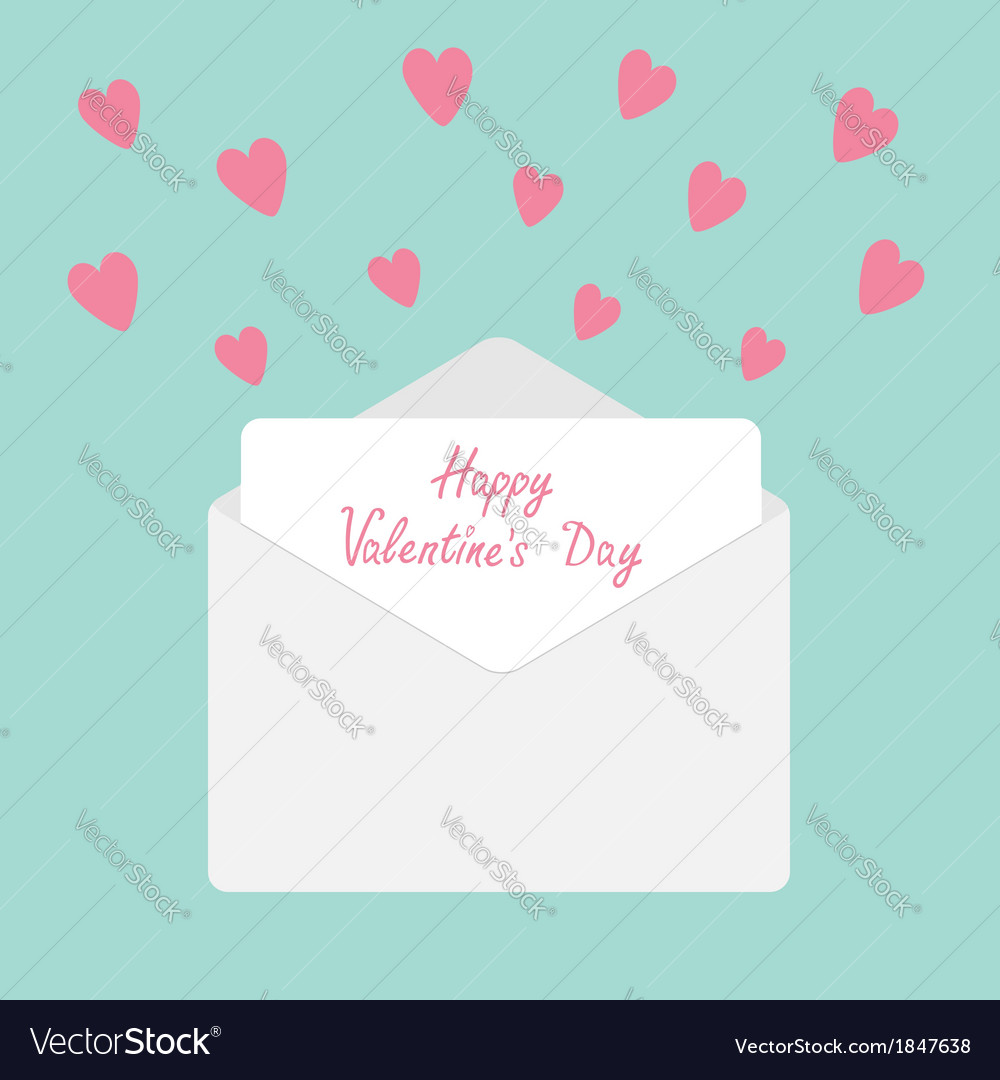 Envelope with hearts happy valentines day vector | Price: 1 Credit (USD $1)
