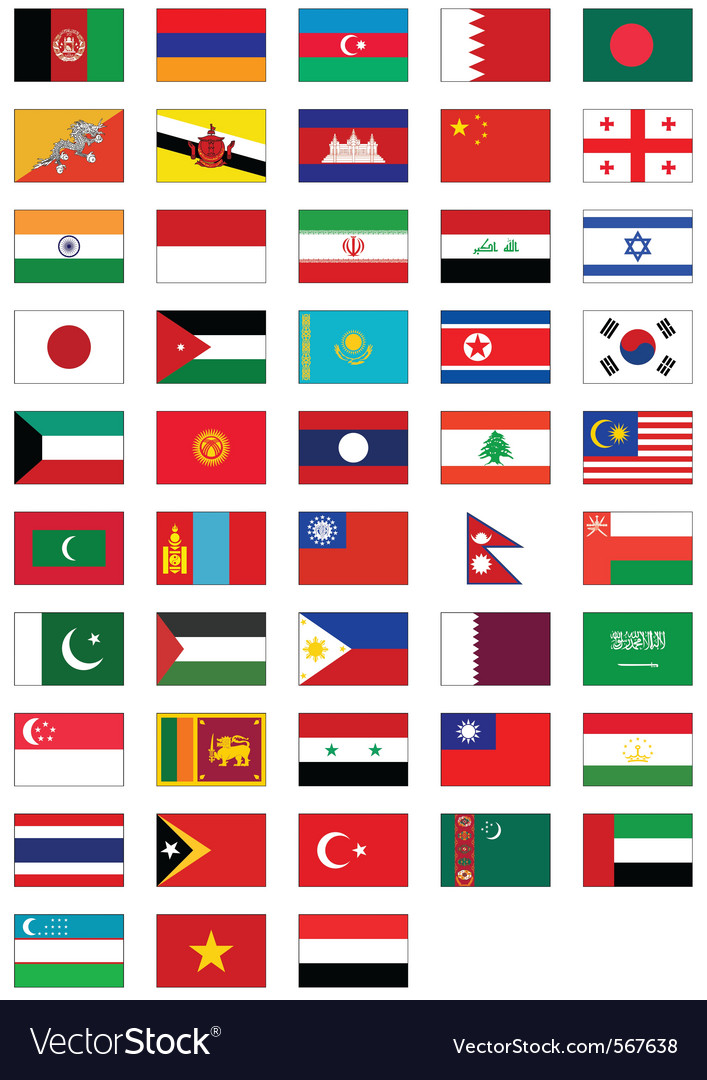 Flag set of all asian countries vector | Price: 1 Credit (USD $1)