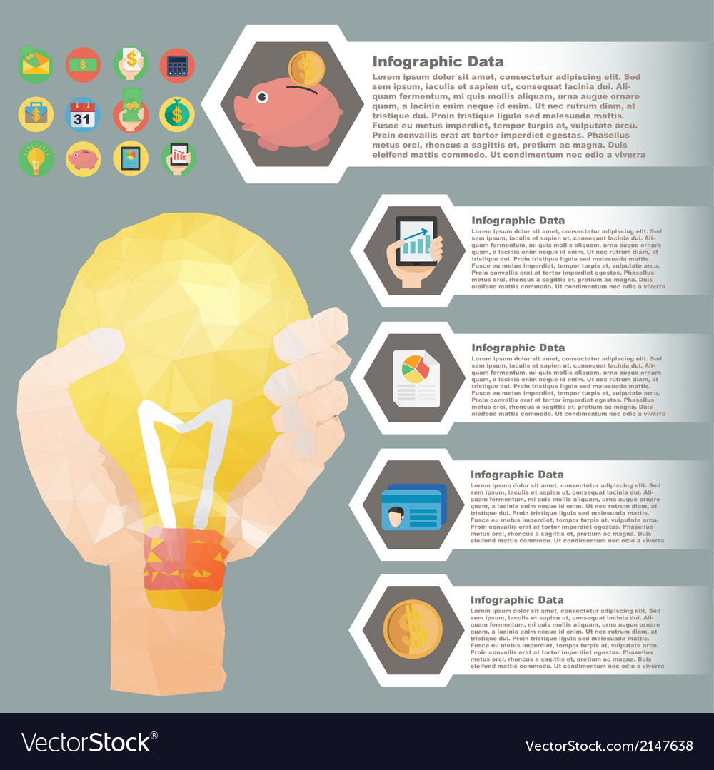 Hand hold bulb polygon infographic for financial vector | Price: 1 Credit (USD $1)