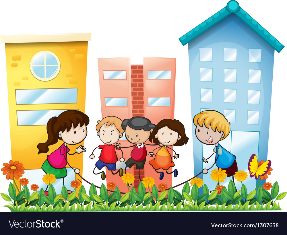 Kids playing outside the building vector | Price: 1 Credit (USD $1)