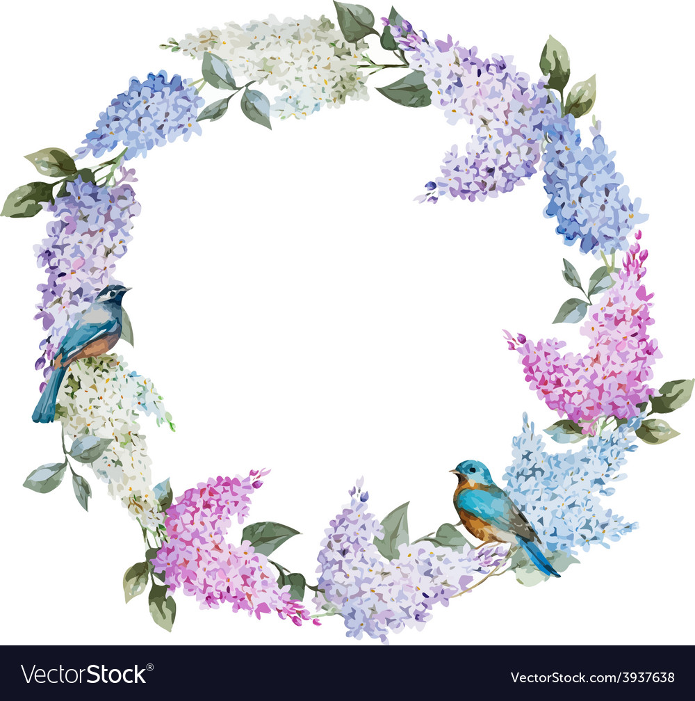 Lilac wreath and birds vector | Price: 1 Credit (USD $1)