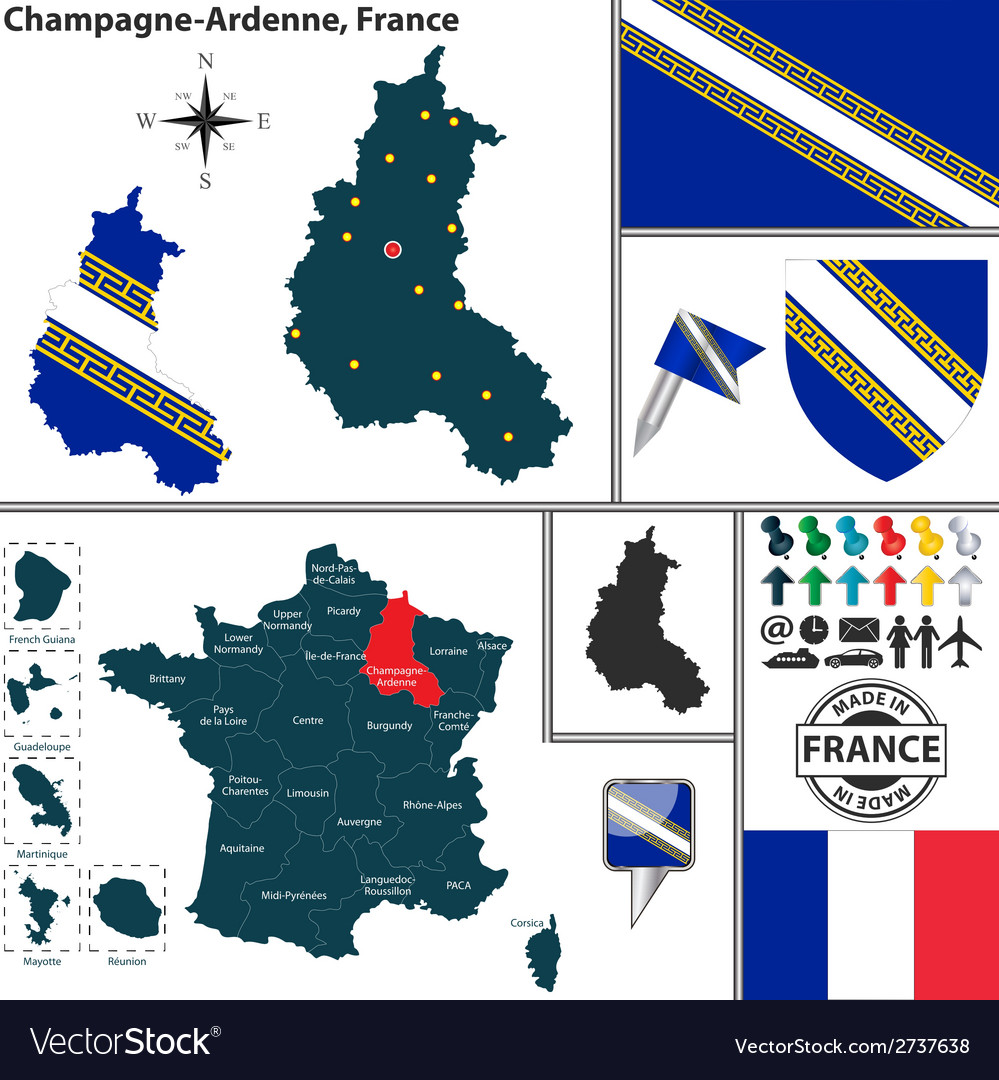 Map of champagne ardenne vector | Price: 1 Credit (USD $1)