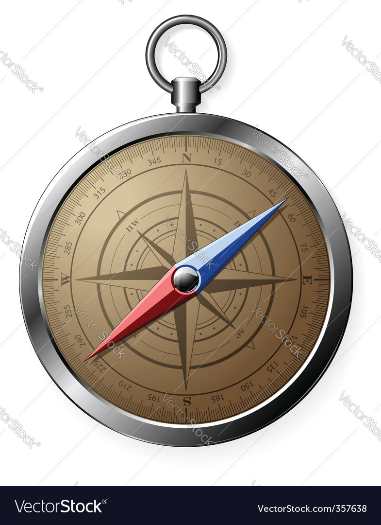Steel detailed compass vector | Price: 1 Credit (USD $1)