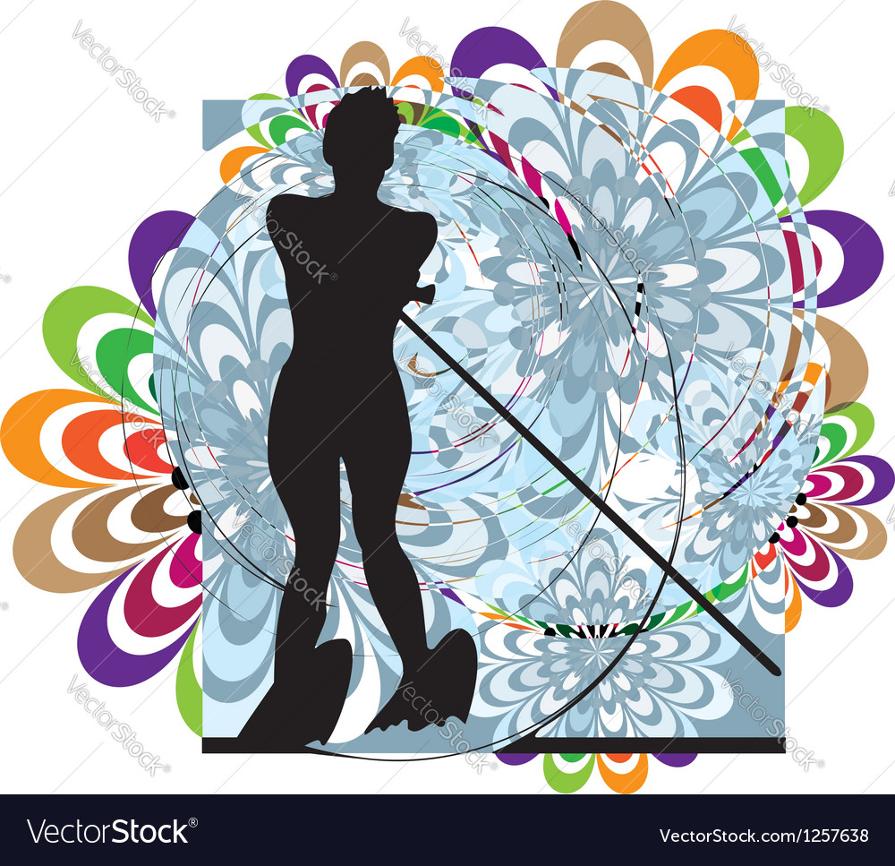 Water skiing woman vector | Price: 1 Credit (USD $1)