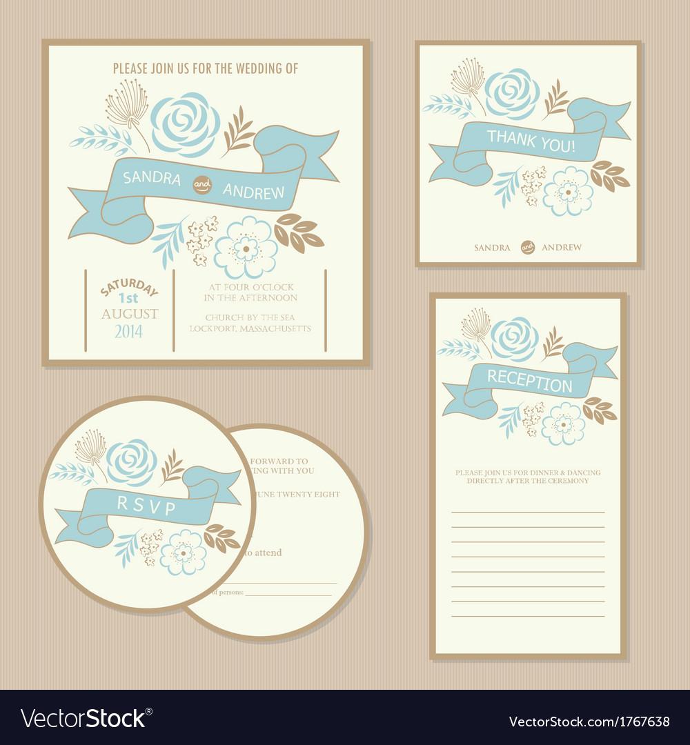 Wedding vintage invitation cards vector | Price: 1 Credit (USD $1)