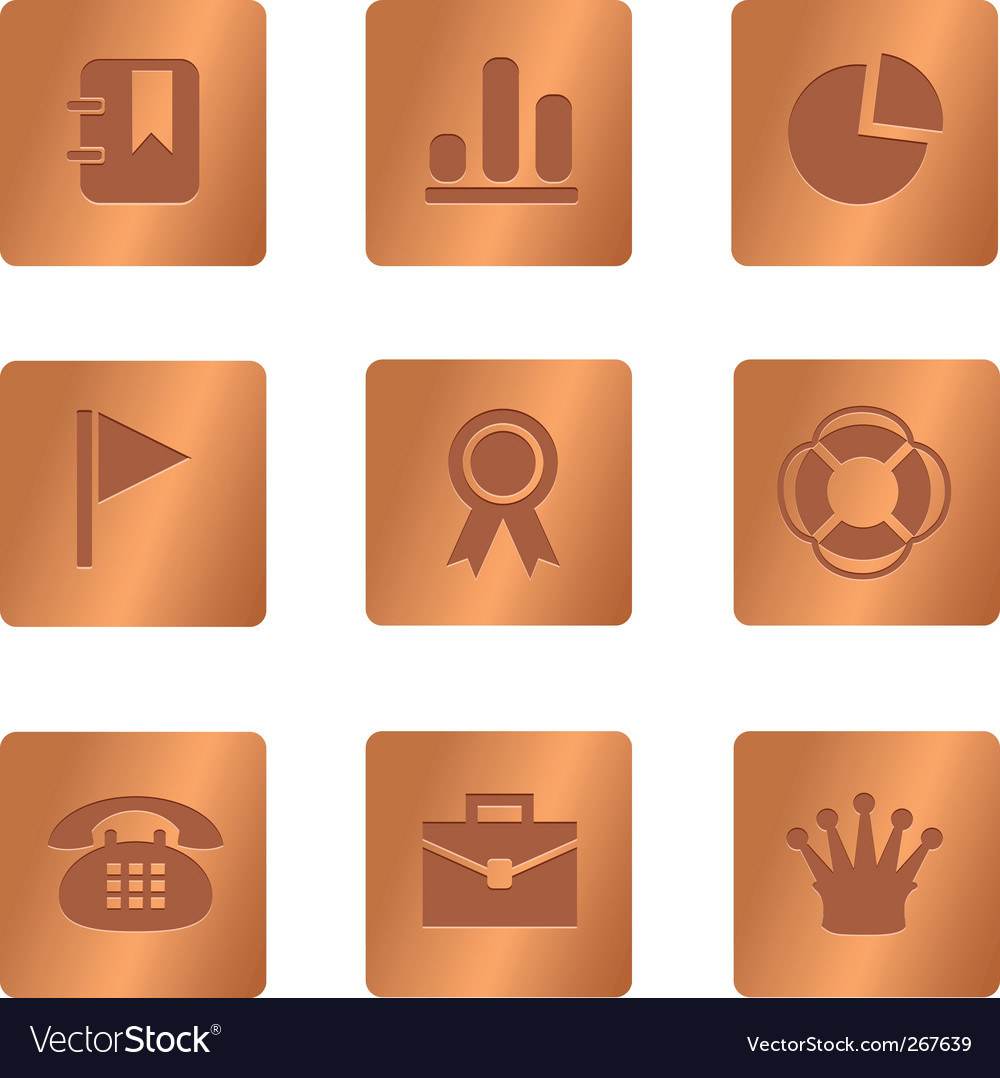 04 copper square office icons vector | Price: 1 Credit (USD $1)