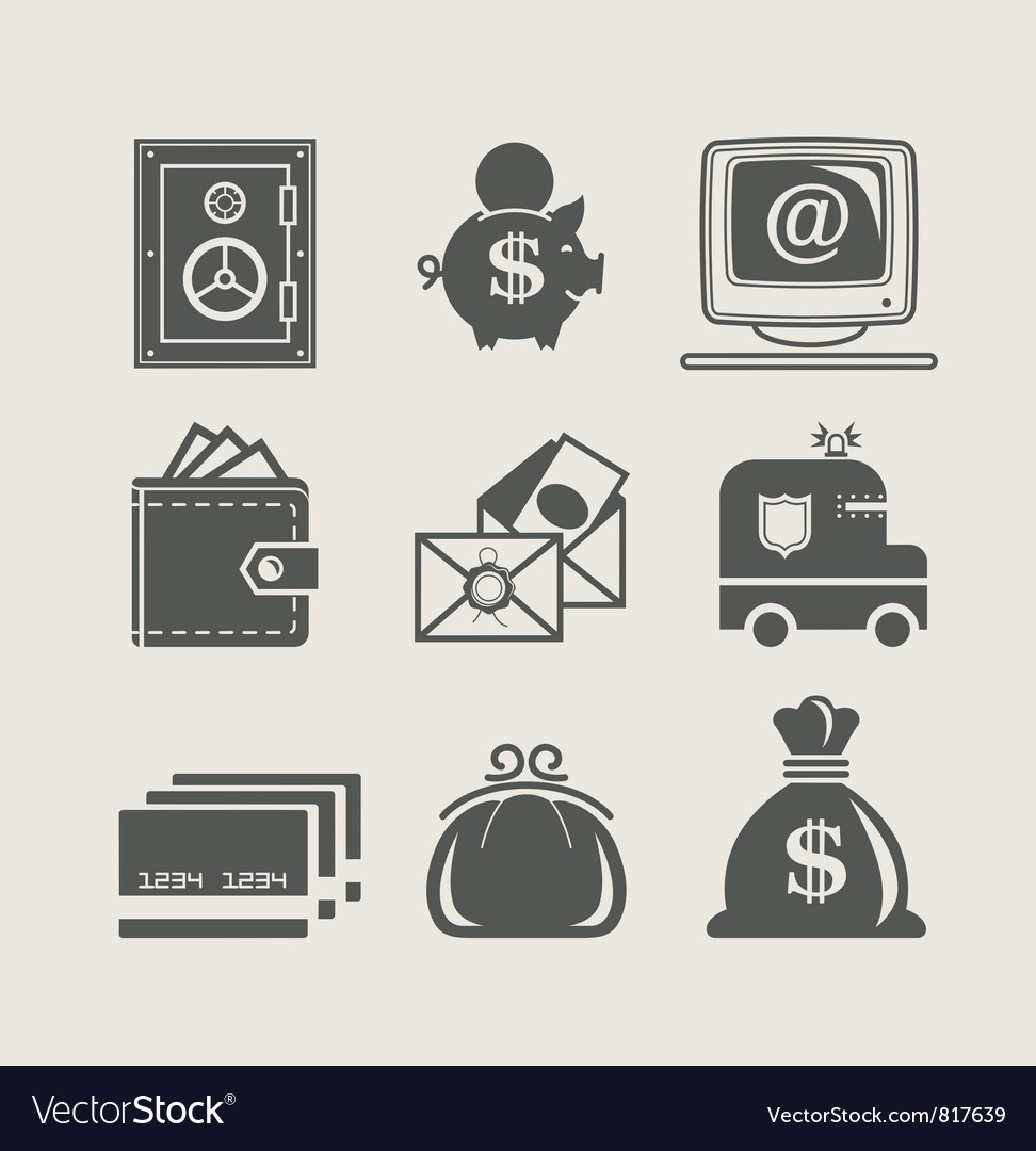 Banking and finance set icon vector | Price: 1 Credit (USD $1)